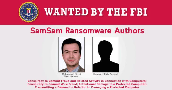 fbi wanted hackers samsam ransomware