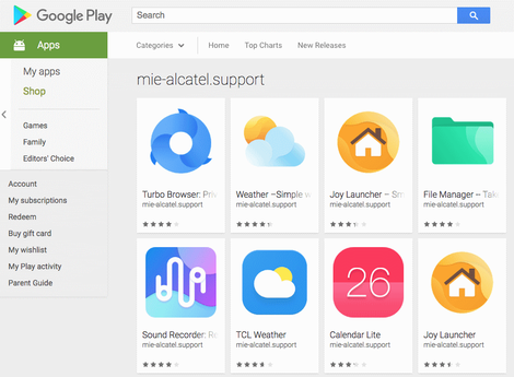 mie-alcatel.support account on Google Play