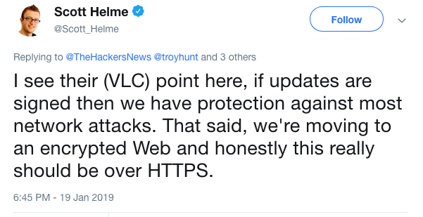 VLC's decision not to use HTTPS for updates supported by some experts