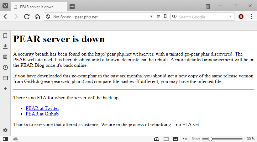 PHP PEAR security breach