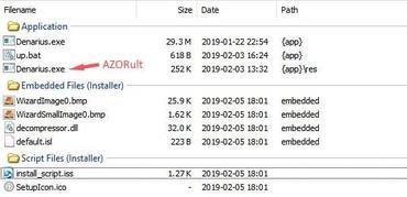 AZORult malware inside the Denarius client installer
