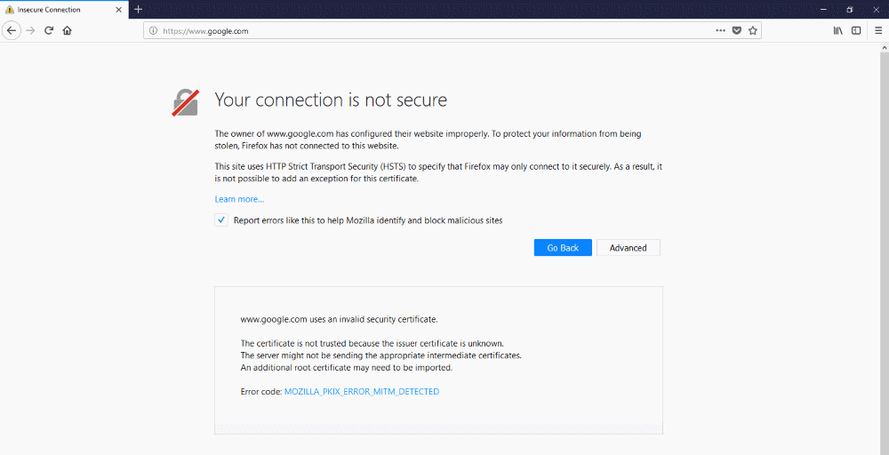 Firefox MitM page