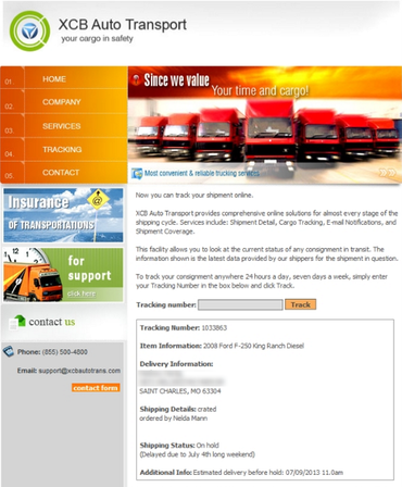 Bayrob's fake trucking company