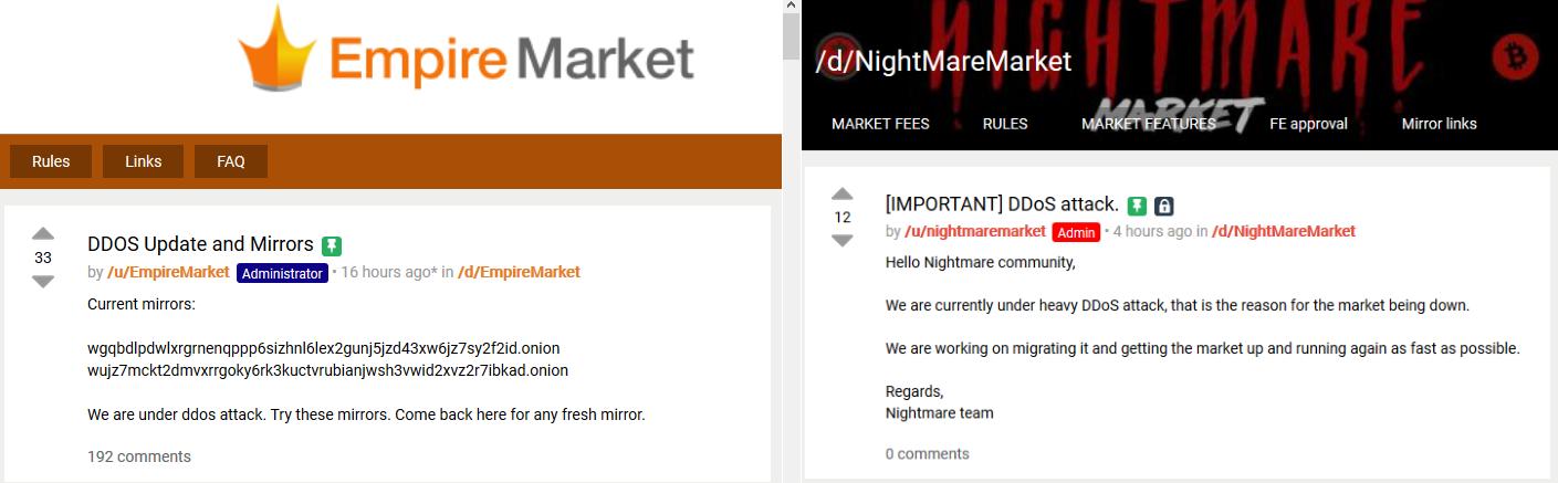 Empire and Nightmare market DDoS