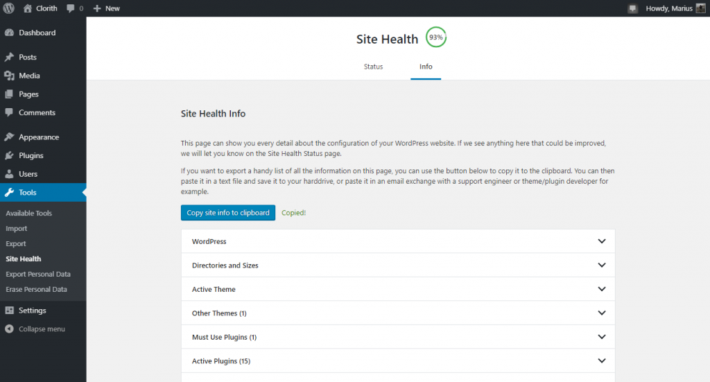 WordPress Site Health Info