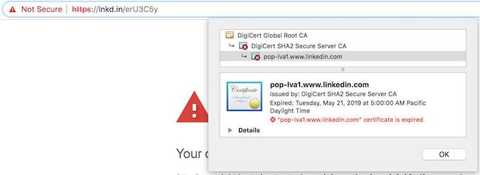 Expired LinkedIn certificate