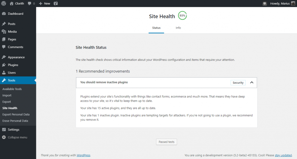 WordPress Site Health Status