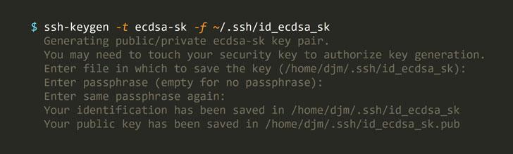 generate openssh fido keys
