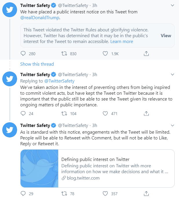 Twitter places public interest notice on President Trump's tweet zdnet