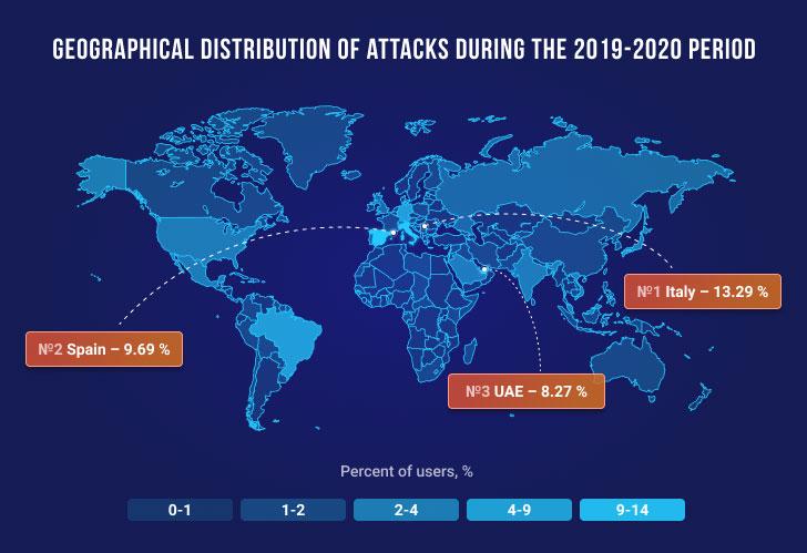 Emotet Banking Malware Attacks on Map