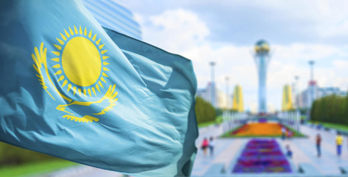 Flag of Kazakhstan in Astana