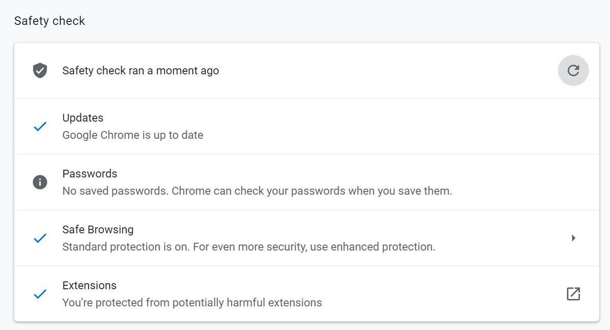 Running Google Chrome Safety check